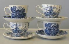 Mix match blue and white vintage tea cups with saucers, 2 Johnson Bros., Tulip Time, 2 are Ridgway, Meadow sweet by TheDHCollection on Etsy