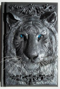 Notebook with polymer clay cover silver tiger 100 by ClaymanShop