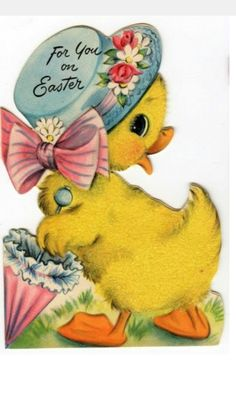 My Vintage Easter Decorations – Cards, Towels and Tins! Easter Art, Hoppy Easter, Easter Crafts, Easter Chick, Easter Greeting Cards, Vintage Greeting Cards, Easter Pictures, Diy Ostern, Easter Parade