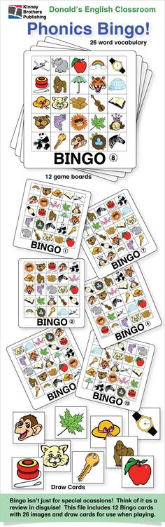 Phonics Bingo is great for reinforcing vocabulary and phonetic associations!  Bingo isn't just for special occasions! Think of Bingo as a lesson review disguised as a game!  Great for student centers, early finishers, or just plain fun in class!  $2 on TpT  #ESL #EFL #ELL