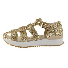 Kids Cavern - MONNALISA SS16 Gold Glitter Sandals 877051877051 - Armani Junior, D&G, Childrens Clothing, Designer clothes, fashion, Kids Cavern, D and G, Kids Clothing