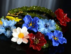 Lampwork Glass Necklace Jewelry Floral by FireMonkeyCreations, $300.00