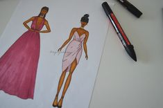 FASHION DRAWING EVENING DRESSES
