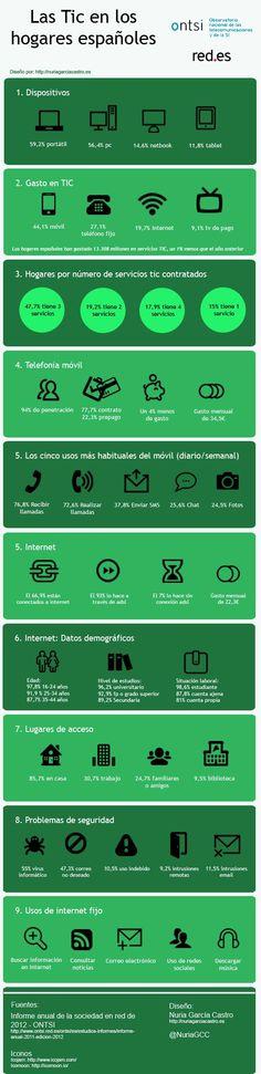 Las TIC en los hogares españoles #infografia #infographic #internet