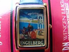 """Grüezi"" the Souvenir Watch, Nostalgie Zifferblatt Engelberg, 30x25mm, NEU - NOS"
