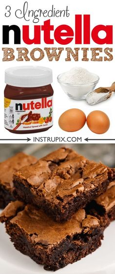 Easy 3 Ingredient Nutella Brownies If you are craving something sweet, moist and super fudgy then you are in for a real treat with these super easy, brownies! Nutella is what makes this brownie recipe so darn easy, not Easy Baking Recipes, Easy Cake Recipes, Brownie Recipes, Dessert Recipes, Easy Nutella Recipes, Fondue Recipes, Easy Desserts To Make, Easy Homemade Desserts, Easy Desert Recipes