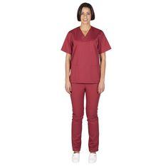 843 conjunto sanitario unisex pico y pantalón con botón en color burdeos