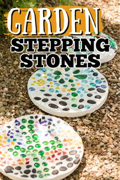 Garden stones are a great way to use pretty embellishments you may have around the house to create a unique piece of outdoor artwork! #garden #gardencraft #diy #kidscrafts #gardenstones #gardening #craftsbyamanda