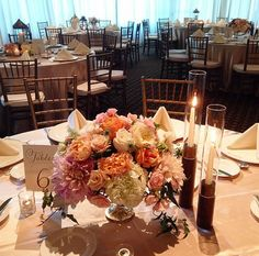 Gorgeous reception centerpiece with peonies, roses and dahlias. Posh Peony Floral and Event Design.
