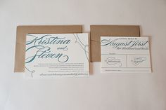 REAL WEDDING: Kristina and Steven | Kraft and Letterpress Wedding Invitations