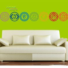 7pcs/set Chakras Vinyl Wall Stickers Mandala Yoga  Meditation Symbol Wall Decals Home Decor Wall Decoration