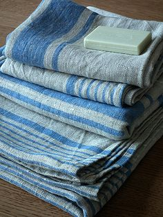 Natural Blue Striped Linen Bath Towels Set