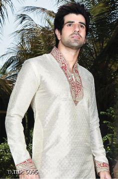 POLY DUPION JACQUARD KURTA PAYJAMA - 5095 Men's indian Wear - Silk India International Ltd