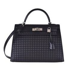 Hermes Kelly 32cm Black Waffle Sellier palladium Hardware JaneFinds