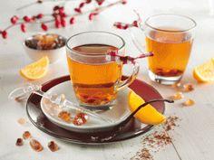 Orangen-Vanille-Rooibos-Punsch - ohne Alkohol. Wer mag verfeinert den Punsch mit einem Schuss Orangenlikör