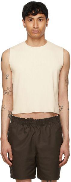 Camiel Fortgens: Off-White Rib Knit Fitted Tank Top | SSENSE Rib Knit, Off White, Organic Cotton, Crew Neck, Women Wear, Raw Edge, Tank Tops, Knitting, Fitness