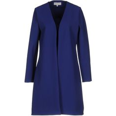 Christies À Porter Overcoat ($270) ❤ liked on Polyvore featuring outerwear, coats, blue, single-breasted trench coats, blue jersey, leather-sleeve coats, blue coat and over coat