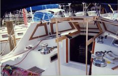 Foto: early build method, building the female mold on the boat. It was then removed for the dodger to be built in