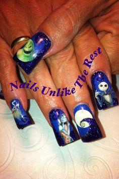 Nightmare Before Christmas nail art