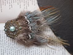 Pheasant Feather Hair Clip with Unusual Light Blue, Grey and Green Feathers. Blue Pearl Beads on a Gold Mandala. Hippy, Bohemian Hair Clip. by FindingUlysses on Etsy