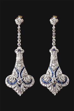 Art Deco sapphire diamond earrings.. nfs — с Rebecca Lynn Kudagama.