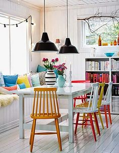 15 Dining Rooms with Brilliantly Colorful Chairs - 15 Dining Rooms with Brilliantly Colorful Chairs: gallery image 12 Multicolored – Bright Bazaar - Dining Room Colors, Dining Room Lighting, Dining Room Design, Dining Room Furniture, Bright Dining Rooms, Design Kitchen, Painted Dining Chairs, Wooden Chairs, Dining Tables