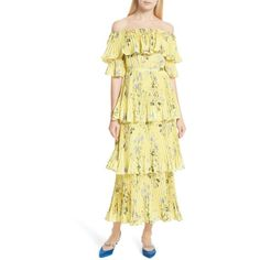 Women's Self-Portrait Floral Pleated Tiered Dress (13.541.595 VND) ❤ liked on Polyvore featuring dresses, yellow, beige dress, yellow off the shoulder dress, off the shoulder floral dress, off shoulder flounce dress and tiered ruffle dress