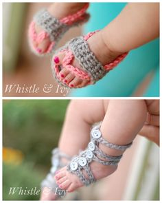 DIY 2 Crochet Baby Sandals with Free Patterns from Whistle & Ivy. Crochet Baby Flip Flops Crochet Baby Gladiator Barefoot Sandals
