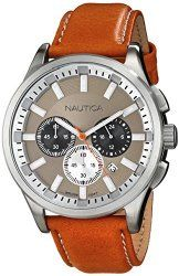 Nautica Men's N16692G NCT 17 Stainless Steel Brown Leather Watch
