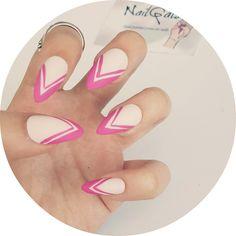 Matte white with double pink tips  www.nailgals.com #stilettonails #glueonnails #pressonnails #falsenails #nailart #naildesigns #mattenails
