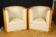 Photo of Art Deco Club Chairs Tub Arm Chairs Crinkle Walnut