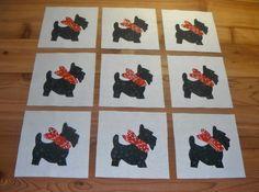 9  Black Scottie Scotty Terrier Dog Quilt Blocks