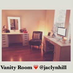 Check out YouTube guru @Jackie Godbold Hill beautiful new vanity room in her new home with our White Starlet #vanitygirloftheday