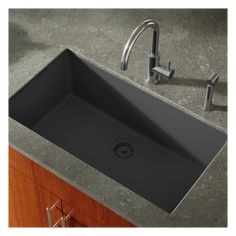 "Miseno MG3319U-BL Black Georgia 33"" Single Basin Undermount Stone Composite Kitchen Sink - Color Matched Basket Strainer Included Composite Sinks, Double Basin, Composite Kitchen Sinks, Single Basin, Signature Hardware, Deep Sink, Basin Design, Kitchen Sink, Clean Sink"