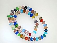 Mix color crystal Beads, Faceted Rondelle crystal Beads, Sparkly, DIY loose beads by Susiesgem on Etsy