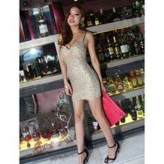 $9.82 Party Queen Dazzling Sequins Embellished Spagetti Straps Mini Dress For Women