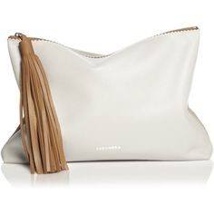 Tassel CLUTCH Camel-Off white-Beige (31.350 COP) ❤ liked on Polyvore featuring bags, handbags, clutches, champagne handbag, beige handbags, tassel handbag, camel purse and silver handbag