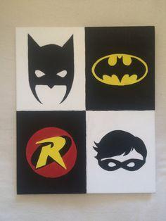 Items similar to Batman And Robin Hand Painted Superhero Canvas on Etsy - Batman Decoration - Ideas of Batman Decoration - Batman And Robin Hand Painted Superhero Canvas by ComicCreative Drawing Cartoon Characters, Character Drawing, Cartoon Drawings, Small Canvas Paintings, Small Canvas Art, Superhero Canvas, Batman Painting, Batman Room, Disney Canvas
