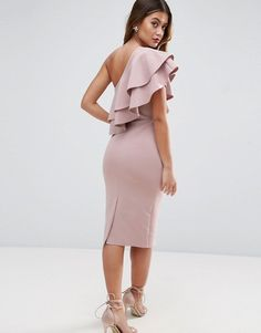 Asos one shoulder double ruffle midi bodycon dress