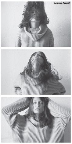 Erin in the Oversized Fisherman Turtleneck by #AmericanApparel