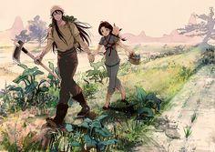 Shiryu y Sunrei como agricultores