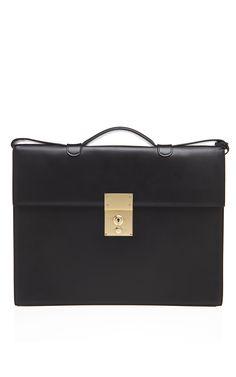 Thom Browne Black Calf Concertina Briefcase