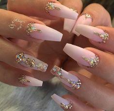 106 Beautiful Nail Art Designs To Copy Right Now - The most beautiful nail designs Glam Nails, Beauty Nails, Matte Nails, Fun Nails, Matte Pink, Acrylic Nails, Salon Nails, Hallographic Nails, Bling Nail Art