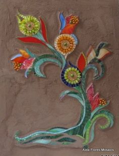Suzani Tree Mosaic- I like the background with the textured grout:) Neat Idea! Mosaic Wall Art, Mosaic Glass, Mosaic Tiles, Stained Glass, Glass Art, Tile Art, Mosaic Flowers, Glass Flowers, Mosaic Crafts