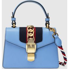 Gucci Sylvie Leather Mini Bag ($1,805) ❤ liked on Polyvore featuring bags, handbags, real leather purses, mini handbags, blue leather purse, leather purses and chain handbags