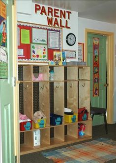 I like the idea of having a space just for parenst so that they can see what is going on in class and help their children ready for the day before they have to leave.