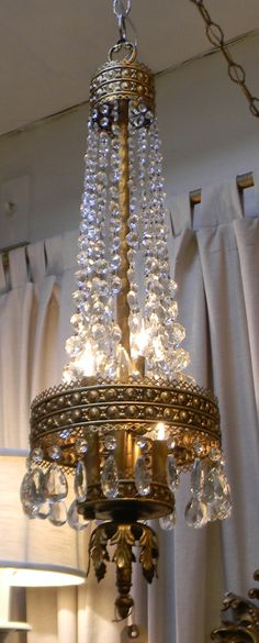 Empire Italian Tole Crystal Chandelier..needs a twin and to be exponentially reduced in size