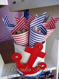 New baby shower ideas centros de mesa para varon Ideas Sailor Birthday, Sailor Party, Pirate Birthday, Nautical Party, Shower Party, Baby Boy Shower, New Baby Products, Birthday Parties, Google