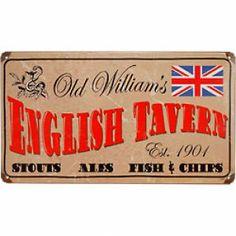 Old Vintage Bar Signs | Keg Works Old William's English Tavern Vintage Metal Bar Sign