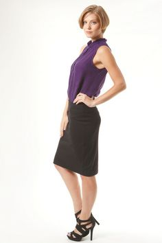 A staple in every girls closet, this renovated pencil skirt shows off with flirty kick pleat in the back.  Also pairs perfectly with the Judi as a suit!